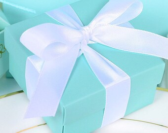 25x  Blue favor boxes with ribbon, Turquoise  Favor Boxes,  Robin eggs blue Favor Box, wedding and bridal  favor