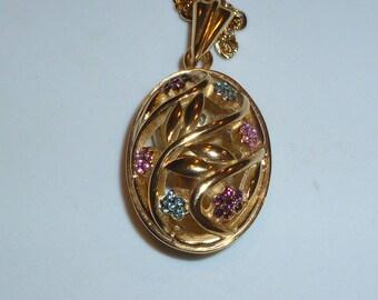 Vintage D'Orlan Faberge egg gold plated filigree flower leaf necklace easter gift