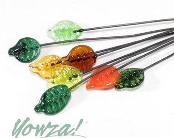 Leaf Lampwork Headpins - set of 8