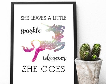 She Leaves a Little Sparkle, Instant Downloadable Printable Art, Printable Wall Art