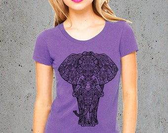 Gifts,(TRIBAL ELEPHANT T Shirt)Yoga Shirt~Elephant Clothing~Instagram Like,Yoga Clothing,Elephant T-shirt Popular clothes,Womens tees,,Gifts