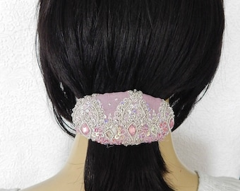 Lavender sparkly hair barrette, beaded hair clip for thick hair
