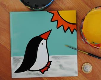 Save the Planet - Global Warming Art -  Hand painted Tile - Penguin art -  Kids Bathroom Decor - Decorative Tile - Penguin Ceramic Tile -