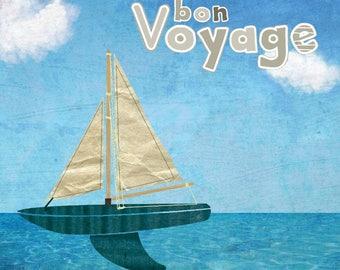 BON VOYAGE greeting card handmade 15cm x 15cm