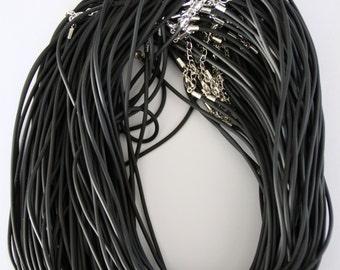 10 x Black rubber cord necklaces