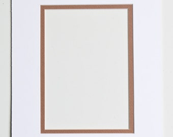 5x7 Double Mat - White and Brown for 8x10 Frame
