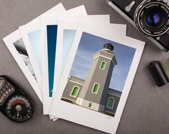"Photo Note Card Set - 5""x7"" - Lighthouses. Nautical photography, blue sea, greeting card, coastal."