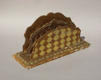 Vintage Florentine Letter Holder Florentia Italy Gold Florentine Wood Mail Holder Diamond Pattern Hand Made In Italy