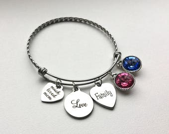 Gift-for-Mom-from-Daughter, Gifts-for-Mom-from-Son, Gifts-for-Mom-Birthday-from-Daughter, Gifts for Mom-for-Christmas, Mom Bangle Bracelet