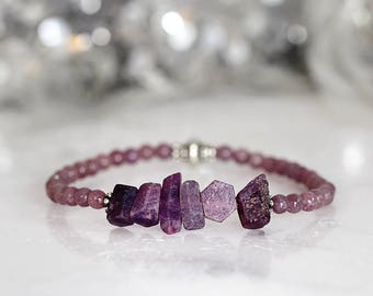Raw Sapphire Bracelet - Raw Stone Jewellery - Gemstone Bracelet - Purple Sapphire Jewelry - September Birthday - Gift For Her