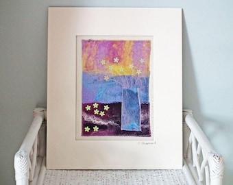 Felt Picture, Original Textile Art, Original Fibre Art, 'Blue Vase', Vase Of Flowers, Mounted & Ready To Frame, 12 x 10 inches, UK Seller
