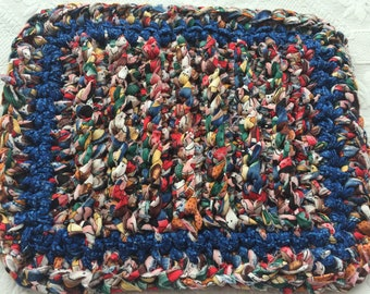 Rag Rug Crochet Trivet/ Hot Pad/ Pot Holder