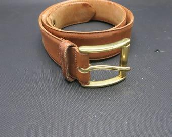 COACH belt Brown tan Leather Brass Buckle