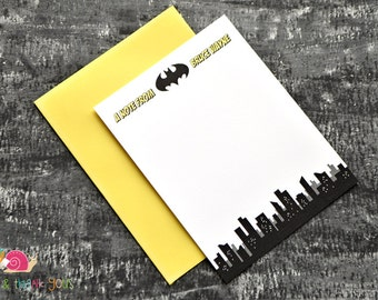 Gotham City Personalized Stationery · A2 FLAT · Yellow and Black · Coordinating Thank You Notes for Batman Invitation