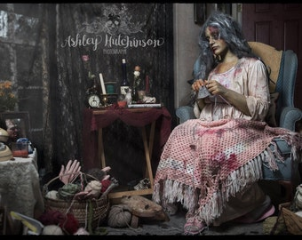 5x7 Signed Archival Print Zombie Girl Alone Time Knitting Crochet Yarn Old Cat Lady Photography Photo Fine Art Macabre Horror Halloween