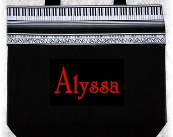 Music bag personalized piano music lesson book bag birthday recital child's kids gift idea treble clef keyboard black canvas