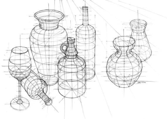 Product Design Line Art : Still life perspective study original drawing by katarzyna