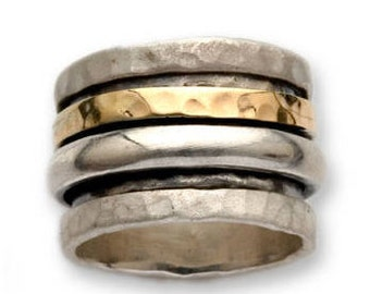 925 Sterling Silver wide ring, Israel Handmade, Silver and Yellow gold Hammered Ring, Gold Spinner swivel ring, ITR234