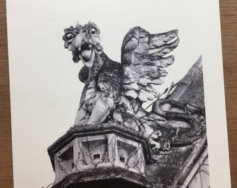 Gargoyle at the University of Chicago,  Black and white note card. Free Shipping