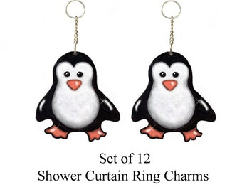 Decorative Shower Curtain Ring Charms....Baby Penguins...Set of 12...Custom made to order