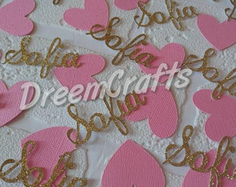 Name Confetti. Heart Confetti. Personalized Confetti. 75-100 pieces.
