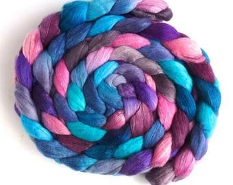 Carrying On, Merino/ Silk Roving (Top) - Handpainted Spinning or Felting Fiber