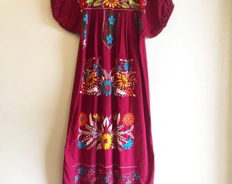 Vintage 1970s Mexican 100% Cotton Embroidered burgundy Dress