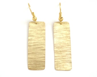 Geometric Gold Earrings Hand Hammered Metalwork Handmade Greek Jewelry Gift For Her