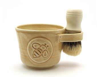 Shaving Mug with a Bee in Cream Holiday Gift for your Honey Brush is Not Included Ready to Ship
