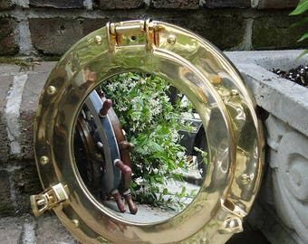 "Solid Cast Brass Nautical PORT HOLE Mirror Ships Sea Sailing Porthole 11"""