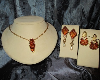 High Quality Vintage Pierced Earrings & Necklace Demi Parure with Enameled Roman engravings.