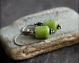 Green Nephrite Jade Stone  Earrings - Sterling Silver Gemstone Jewelry