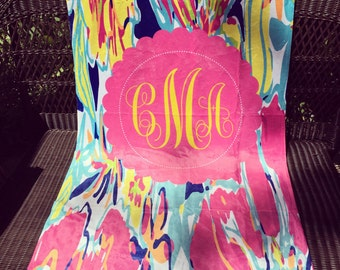 Personalize Lilly Pulitzer inspired Beach Towel Monogram Beach Towel Chevron Towel Coral Peach Teal Aqua Towel Monogram Chevron Beach Towel