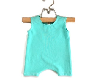 Short Mint Romper | summer romper, harem romper, baby onesie, solid romper