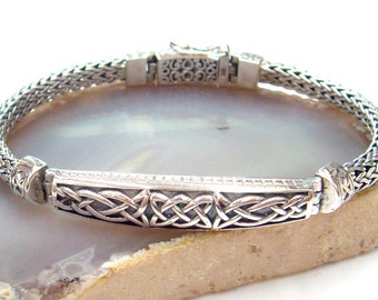 silver bracelet woven chain celtic style,925 sterling silver