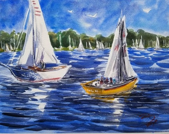 """Regatta Watercolor painting 11""""x14"""". Boats on the Lake, Weatherby Lake, Parkville, MO. By Liz Vargas"""
