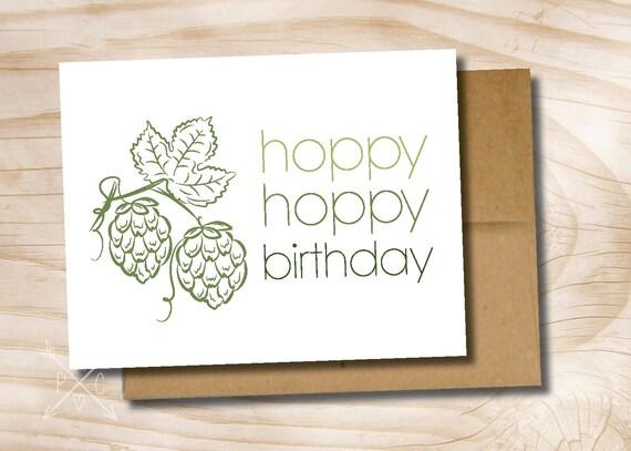 Hoppy birthday hoppy beerday beer mug printed greeting card bookmarktalkfo Images