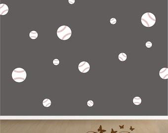 Baseballs 18 Set, Vinyl decals,nursery, kids room, teens room, removable decals stickers