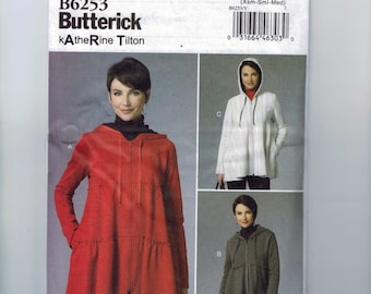 Misses Sewing Pattern Butterick B6253 6253 Misses Tiered Loose Fitting Hooded Jacket Size 4-6-8-10-12-14 or 16-18-20-22-24-26 UNCUT  99