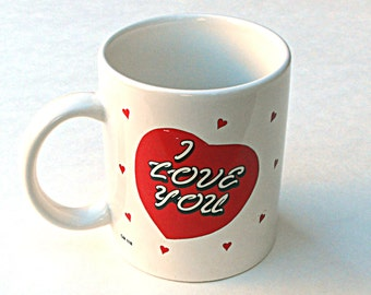 I Love You Heart Mug Vintage Valentines Day Hearts Red and White Coffee Cup Brite Ideas Romantic Anniversary Gift Sweetheart Lover Valentine