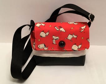 C109- Wee Bag: outrageous dog print tiny shoulder purse with adjustable handle