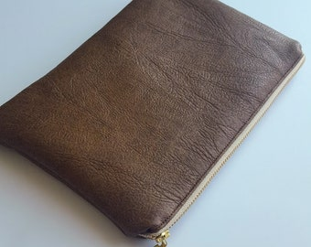 Brown Faux Leather Pouch - Bag - Clutch