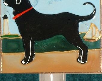 Black Lab Dog Night Light Black Labrador Retriever Art Dog Nightlight Wall Plug Decor Black Lab Memorial Stain Glass Gift for Dog Lover Gift