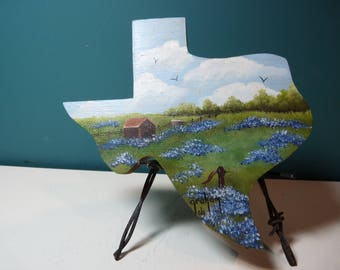 Texas Shaped Art on Barbed Wire Stand
