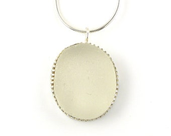 Sea Glass Necklace, Silver Necklace, Snow White Frosted Sea Glass Necklace Pendant, Sea Glass Pendant, Seaglass Necklace, SOFIA