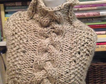 Oatmeal Tweed chunky Handknit Cable Capelet Wrap Shawl