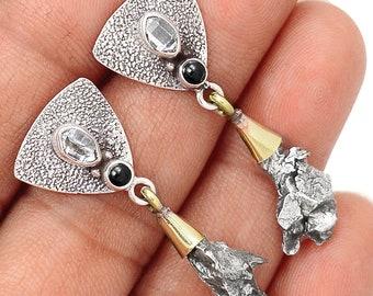 Black Onyx, Campo del Cielo Meteorites & Herkimers Earrings. 1 5/8'' Long. 7165