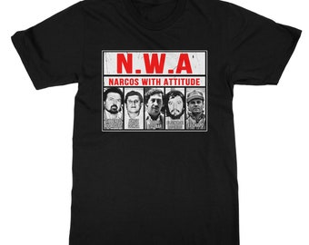 Narcos with Attitude Pablo Escobar Chapo Black T-Shirt for Men