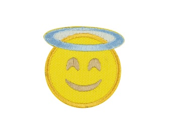 Smiling Face with Halo Angel Emoji Embroidered Iron On Patch Applique - FREE SHIPPING