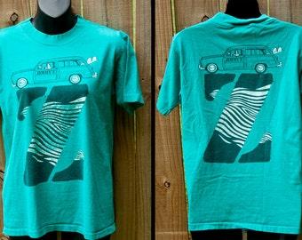 1984 Jimmy'z shirt - Zebra Z wagon blue t-shirt - Vintage 80s surf T&C skateboard tee